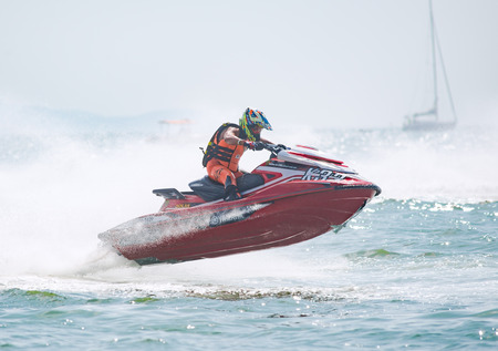 Pattaya, Thailand - December 9, 2017: Euncheol Ha from South Korea, competing in the Pro-Am Runabaout Open Class of the International Jet Ski World Cup at Jomtien Beach, Pattaya, Thailand.