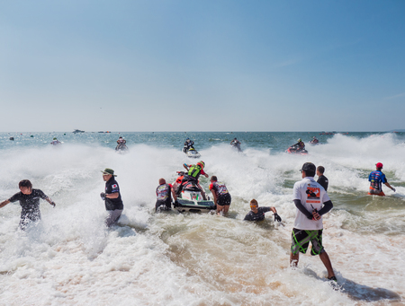 Pattaya, Thailand - December 9, 2017: Start of the Pro-Am Runabaout Open Class during the International Jet Ski World Cup at Jomtien Beach, Pattaya, Thailand. The late starter is Andrus Lutt from Estonia. Editorial