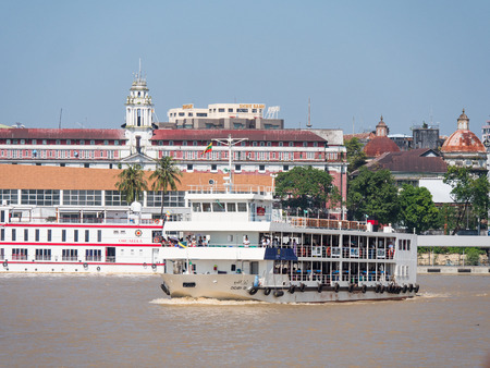 Yangon, Myanmar - November 5, 2017: New passenger ferries delivered in 2014 have made the trip across Yangon River from Pansodan Ferry Terminal in Yangon to Dala Ferry Terminal on the Dala side a very safe ride. 30,000 passengers make the crossing every d