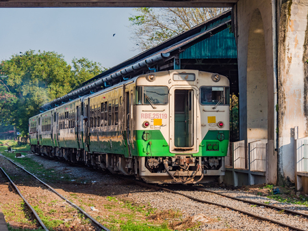 Yangon, Myanmar - November 5, 2017: Myanmar's extensive railway network is slowly being modernised, mainly with used trains from other Asian countries. Here's a Japanese commuter train at Yangon Central Railway Station.