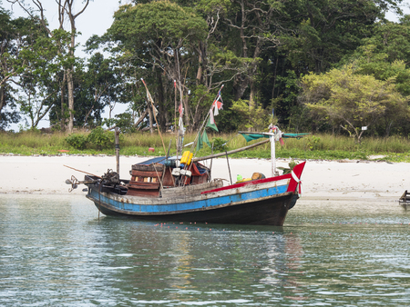 Fishing boat at Smart Island outside Myeik, a part of the Mergui or Myeik Archipelago in the Tanintharyi Region of Southern Myanmar. Stock Photo
