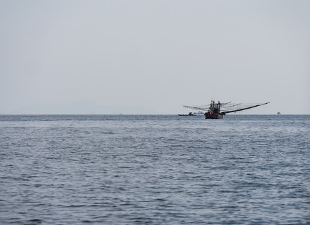 Fishing boat at the Andaman Sea, on the outskirts of the Mergui or Myeik Archipelago in the Tanintharyi Region of Southern Myanmar.
