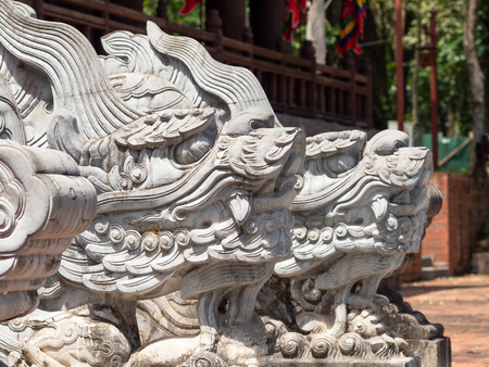 Dragon heads at the Lam Kinh temple in Xuan Lam and Lam Son townlet of Tho Xuan district, Thanh Hoa, Vietnam. The temple was built by national hero Le Loi during the early 15th century after he excpelled the Chinese and obtained independence for the country.