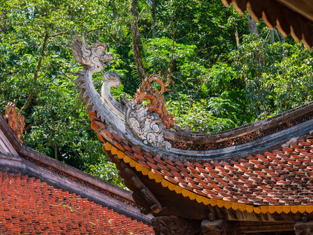 Detail of the Lam Kinh temple in Xuan Lam and Lam Son townlet of Tho Xuan district, Thanh Hoa, Vietnam. The temple was built by national hero Le Loi during the early 15th century after he excpelled the Chinese and obtained independence for the country. Stock Photo
