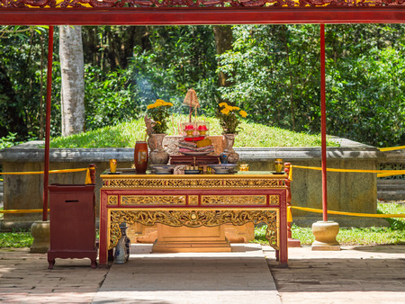 The Le Thai To mausoleum at Lam Kinh temple in Xuan Lam and Lam Son townlet of Tho Xuan district, Thanh Hoa, Vietnam. The temple was built by national hero Le Loi, Le Thai To, during the early 15th century after he excpelled the Chinese and obtained independence for the country. Stock Photo