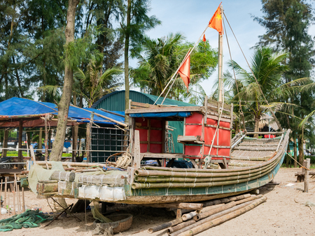 Basic fishing boat made from bamboo at Sam Son Beach in Thanh Hoa Province, Vietnam