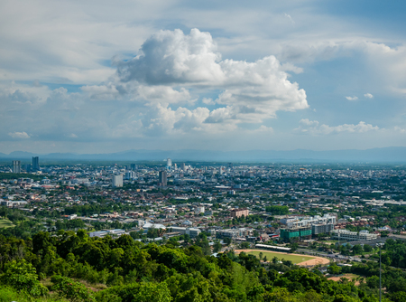 Aerial view of Hat Yai City, Songkhla Province in Thailand. Being the largest city in the far south of Thailand, Hat Yai is an important transportation and trade hub. Stock Photo