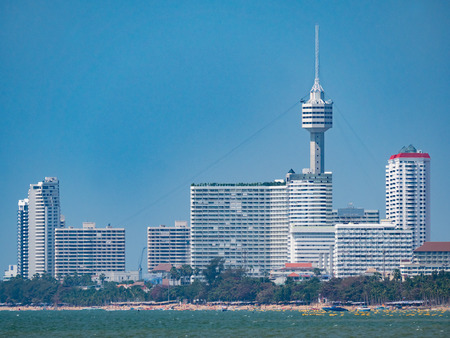 High rice buildings and the tower of Pattaya Park along Jomtien Beach in Pattaya, Thailand Editorial