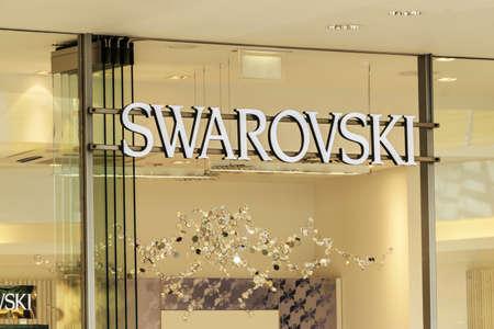 ag: ROSTOCK, GERMANY - MAY 12, 2016: Swarovski store. Swarovski AG is an Austrian producer of luxury cut lead glass, headquartered in Wattens, Austria.