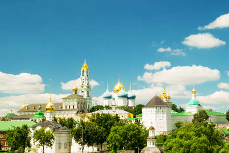 lavra: View of the Trinity Lavra of St. Sergius - Monastery in the town of Sergiyev Posad, Russia Stock Photo