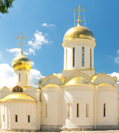 cupolas: Golden Cupolas of Trinity Cathedral in Lavra of St. Sergius, Sergiev Posad, Russia.