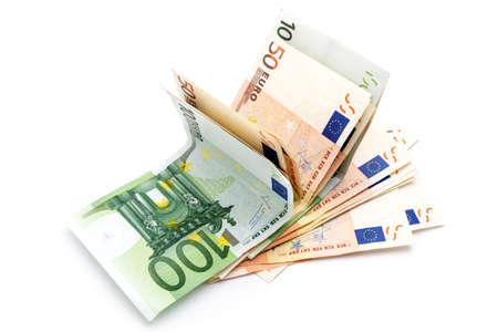 Money euro banknotes. Cash isolated on white Stock Photo
