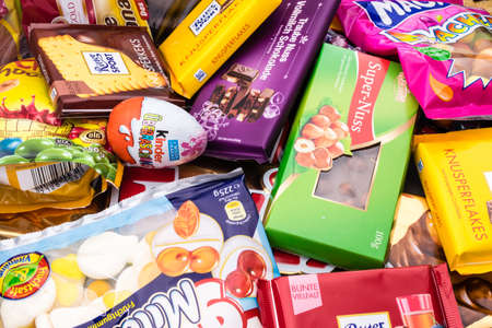 Germany - June 21, 2016: different sweets. Candy heap. chocolate, candys surprise eggs Empty calories Editorial