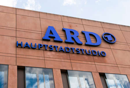 state owned: GERMANY - 22 JULY 2016: the logo of the German state owned television station ARD, Berlin.