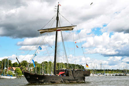 rostock: ROSTOCK, GERMANY - 12 AUGUST 2016: Medieval vessel Wissemara is sailing in Hanse-Sail Rostock, Germany Editorial