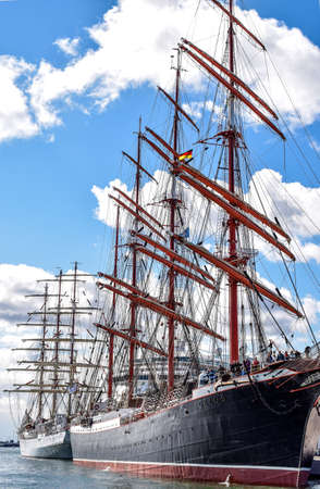 barque: ROSTOCK, GERMANY - AUGUST 2016: Four-master sailing ship STS Sedov, formerly Magdalene Vinnen II and Kommodore Johnsen. Sedov is Four-masted steel barque and a sail training vessel.