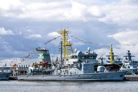 ROSTOCK, GERMANY - AUGUST 2016: Grey modern warship. Hansesail in Warnemuende and Rostock harbor