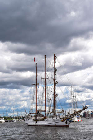 barque: ROSTOCK, GERMANY - AUGUST 2016: three-masted barque Loth Lorien. Hansesail in Warnemuende and Rostock harbor.