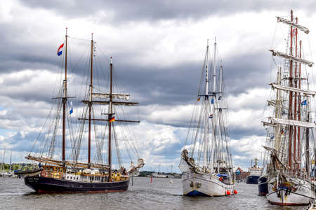 minerva: Rostock, Germany - August 2016: Sailing ships Hendrika Bartelds, Loth Lorien, Minerva. Hansesail in Warnemuende and Rostock harbor with lots of sailing ship from all over the world. Editorial