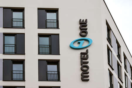 one lane street sign: Rostock, Germany - August 22, 2016: Motel one is a Low-Budget-Hotel Editorial