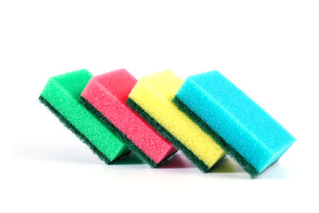 Kitchen sponge isolated on white background. Colorful dishwashing kitchen sponges 版權商用圖片