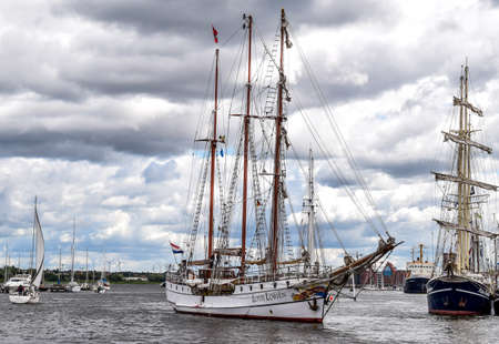 ROSTOCK, GERMANY - AUGUST 2016: three-masted barque Loth Lorien. Hansesail in Warnemuende and Rostock harbor with lots of sailing ship from all over the world. Editorial