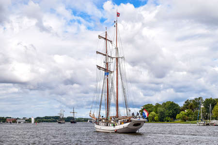 rostock: ROSTOCK, GERMANY - AUGUST 2016: two-master sailing ship. Hansesail in Warnemuende and Rostock harbor with lots of sailing ship from all over the world. Editorial