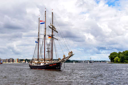 ROSTOCK, GERMANY - AUGUST 2016: three-masted sailing ship Hendrika Bartelds. Hansesail in Warnemuende and Rostock harbor. Editorial