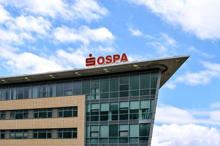 rostock: Rostock, Germany - August 22, 2016: Office of OSPA Sparkasse in Rostock