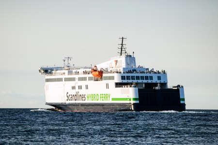 Rostock, Germany - August 19, 2016: Scandlines hybrid ferry ship in Rostock Warnemunde