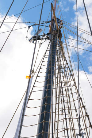 View of the Topmast and shroud on a tall ship. Stock Photo