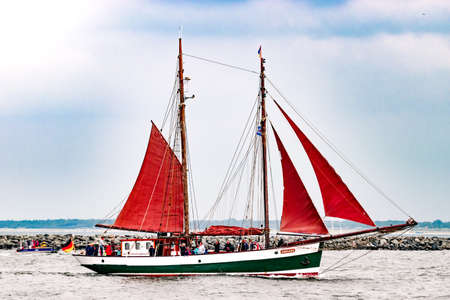 ship bow: Rostock, Germany - August 2016: Sailing ship dAchara on the baltic sea.