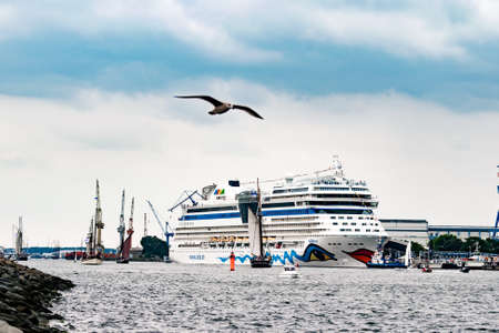 Rostock, Germany - August 2016: : cruise ship from aida in Warnemuende