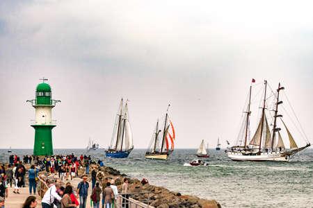 Rostock, Germany - August 2016: Sailing ships on Hanse-Sail Warnemuende.