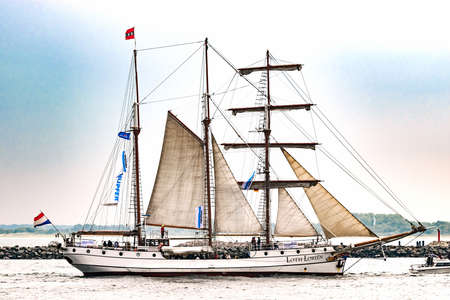 Rostock, Germany - August 2016: Sailing ship Loth Lorien on the baltic sea.