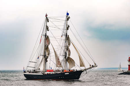 Rostock, Germany - August 2016: Sailing ship Mercedes on the sea.