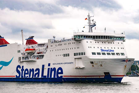 Rostock, Germany - August 2016: Stena Line ferry in the harbour of Rostock