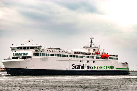 Rostock, Germany - August 2016: Scandlines hybrid ferry in the harbour of Rostock