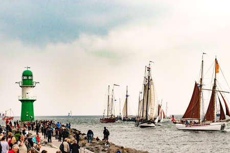 Rostock, Germany - August 2016: Sailing ships on the sea. Tall Ship.Yachting and Sailing travel. Cruises and holidays. Hanse-Sail Warnemuende at port Rostock, Mecklenburg-Vorpommern, Germany Editorial