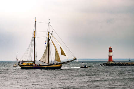 Rostock, Germany - August 2016: Sailing ship Zuiderzee on the baltic sea. Hanse-Sail Warnemuende at port Rostock, Mecklenburg-Vorpommern, Germany. Tall Ship.Yachting and Sailing travel. Cruises and holidays Editorial