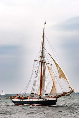 Rostock, Germany - August 2016: Sailing ship Norden on the baltic sea.