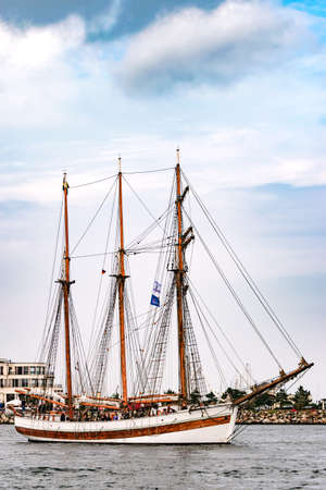 Rostock, Germany - August 2016: Sailing ship on the baltic sea.
