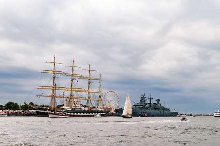 Rostock, Germany - August 2016: Sailing ship Krusenstern on the baltic sea. Editorial