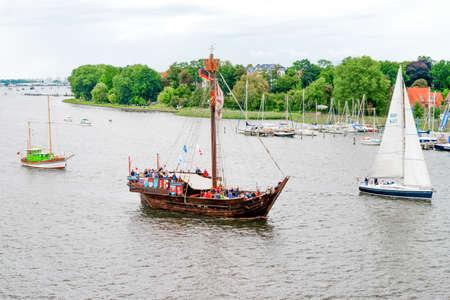 ROSTOCK, GERMANY - AUGUST 2016: Medieval vessel Wissemara Hanse-Sail