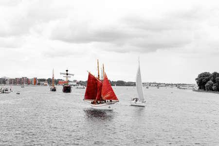 Rostock, Germany - August 2016: sailing ship on Hanse Sail
