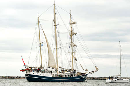 Rostock, Germany - August 2016: Sailing ship Pedro Doncker on the baltic sea.