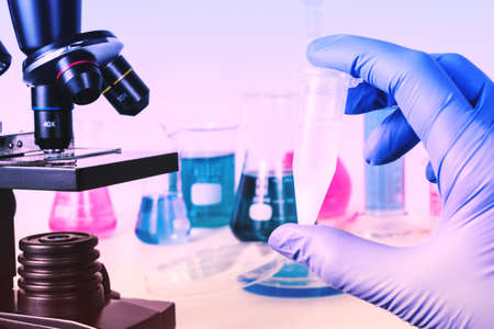 Analysis of samples in medical laboratory. Medical Research and science Stock Photo