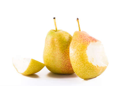 Fresh whole and bite williams pears or bartlett pear isolated on white background.