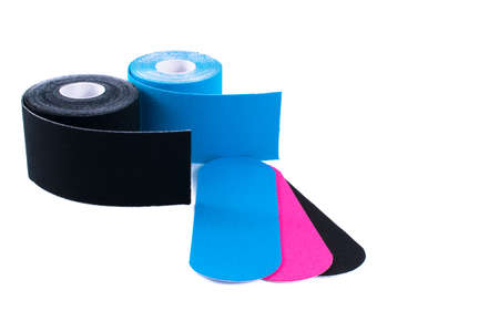 taping: colorful kinesiology tape. Physiotherapy and therapeutic tape for wrist pain, aches and tension. elastic therapeutic tape. adhesive tape and alternative medicine.