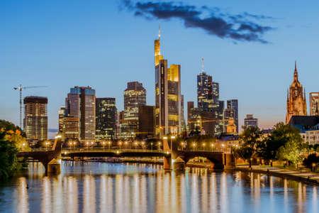 Night view of Frankfurt at Main skyline. Financial center of Germany.
